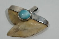 D396 Vintage 70's Tiger Eye Tooth Pendant With Larimar Cab On Sterling