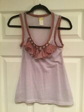 C. Keer Anthropologie Purple Tank Top With Jewels & Ruffles, Size XS