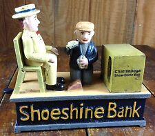 CHATTANOOGA SHOE-SHINE BOY CAST IRON MECHANICAL SHOE SHINE BANK MAN KICKS COIN
