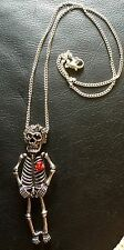 Skeleton Necklace 3D, Diamanté Bow & Flower Rockabilly Steampunk Day Of The Dead