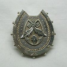 Victorian Solid Silver Large Ornate Horseshoe Brooch