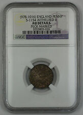 978-1016 England Penny Silver Coin S-1154 Aethelred II NGC AU Dtls Peck Mrkd AKR