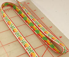 36 yards white little rose trim from Japan orange flowers green leaves 1/2""