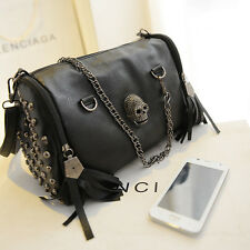 Women Skull Rivet Tassels Shoulder Bag Handbag Crossbody Satchel Tote Purse SA