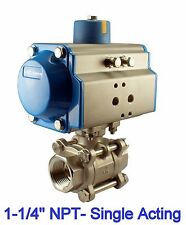 "1-1/4"" Pneumatic Single Acting Spring Return Air Actuated Stainless Ball Valve"