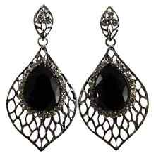 Black Glass Stone & Clear Crystals Silver Large Drop Earrings