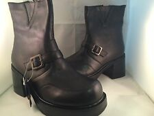 Peerage Women's Sz 8 1/2 8.5 Black Motorcycle Leather Heels Zipper Ankle Bootie