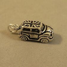 .925 Sterling Silver 3-D BRITISH MINI CAR CHARM NEW Pendant Flag Copper 925 VH36