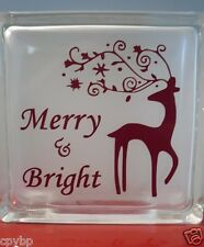 Merry and Bright Christmas Decal Sticker for Glass Block DIY Crafts
