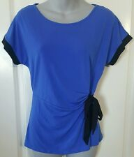 Women's Blouse Top Dressy Shirt Blue Black Bow Tie Jaclyn Smith Size S Small NWT