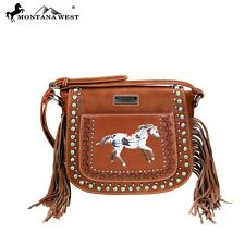 Montana West Handbag NEW Western Style  Cowgirl Purse Brown  fringe