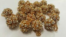 *Beautiful  Gold Rhinestone Beads buttons for crafting jewellery design X3
