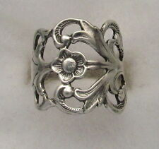 Sterling Silver Oxidized  Vintage with Hazel Design Spoon Adjustable Ring