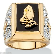 14K GOLD PRAYING HANDS EMERALD CUT ONYX MENS GP RING SIZE 8 9 10 11 12 13