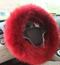 AUSTRALIA GENUINE SHEEPSKIN WOOL STEERING WHEEL COVER PLUSH COMFORT SUPER SOFT