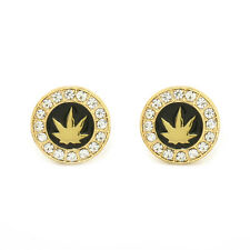 Marijuana Earrings 10mm Gold Tone with Black Medallion Shaped