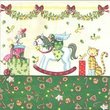 4 Serviettes en papier Jouets Noël Decoupage Paper Napkins  For a Wondrous day
