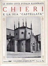 rivista CENTO CITTA' D'ITALIA ILLUSTRATE SONZOGNO - CHIERI