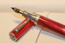 MONTEGRAPPA ESPRESSIONE FOUNTAIN PEN MARBLE RED 14 kt Nib STERLING SILVER Rings