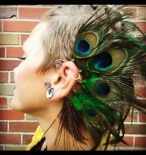 Natural Peacock Feather Ear Cuff, Boho Cuff, Ear Cuff, Tribal, Feather Earrings