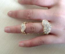 Delicate New Ladies Double Heart Rhinestone Tassel Connet Finger Lovely Ring
