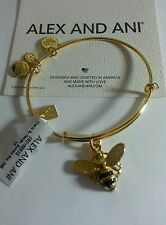 ALEX AND ANI 2016 BUMBLEBEE BEE CHARM BANGLE BRACELET NWT BOX SHINY Gold Finish