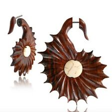 "PAIR 18G SONO WOOD FAUX FAKE CHEATER PLUGS INLAY STONE 2"" INCH GAUGES TALONS"