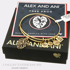 Authentic Alex and Ani Frog Rafaelian Gold Charm Bangle