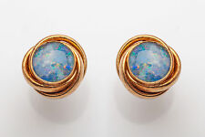 Vintage 1960s 3ct Natural Black Opal 14k Yellow Gold Earrings