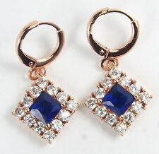 Women's 18 Carat Rose Gold Plated Blue Zircon Huggie Hoop Earrings Jewellery
