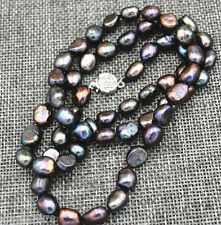 7-8MM black Akoya Cultured Pearl Baroque Necklace AAA 20inch