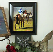 Munnings BAY Race Thoroughbred Horse Art Print Vintage Style Framed picture