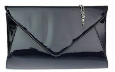 Clutch Bag Designer Patent Glossy Faux Leather Plain Envelope Evening Ladies