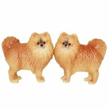 Pomeranian Dog Pup Couple Ceramic Salt and Pepper Shakers Magnetic Attracted