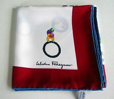 VTG SALVATORE FERRAGAMO Signed Women's 100% SILK-TWILL Scarf/