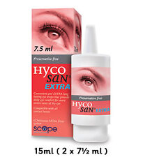 Hycosan Extra Dry Eye Drops 15ml (2 x 7.5ml) Scope Preservative Free bnwt