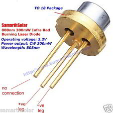 Burning Laser Diode 808nm 300mW Mitsubishi Infrared High Power TO18 5.6mm 2.2 V