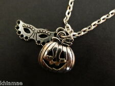 Halloween Mask & Pumpkin Necklace silver plated wiccan pagan jewellery goth