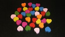 50 Pack ~ Mixed Colour Wooden HEART Beads ~ FREE POST