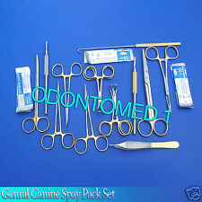 59 PCS GOLD HANDLE GENERAL CANINE SPAY PACK SURGICAL DENTAL INSTRUMENTS SET KIT