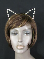 New women head band gold metal fashion animal ears imitation pearl beads cat dog