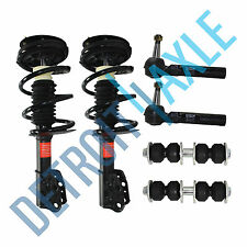 2 NEW Complete Front Left / Right Struts + 2 Sway Bar Link + 2 Outer Tie Rod End