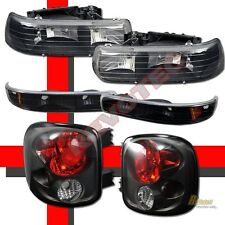 99-02 Chevy Silverado Stepside Black Headlights + Bumper Signal + Tail Lamps