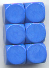 NEW Dice Set of 6 D6 (16mm) - Opaque Blanks  - Blue