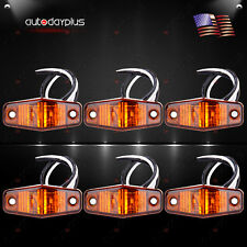 6x LED Light 2 Diode Amber Universal Mount Clearance Side Marker Trailer Lamp
