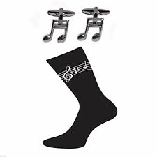 Musical Semi Quaver Cufflinks & Sheet Music Design Socks Gift Set