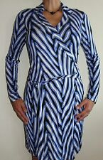 New Womens Diane von Furstenberg DVF Dress Sz 10 Blue White Black Striped Wrap