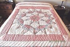 Full Sz Peach,Blue,Green Calico Patchwork Star Handmade Quilted Bedspread 66x82