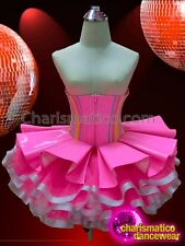 CHARISMATICO Pastel Ribbon Trim Pink Vinyl Underbust Corset With Matching Tutu