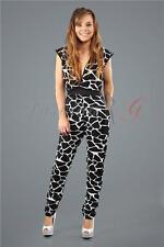 Womens Ladies Party Top Playsuit Romper Jumpsuit Dress Black New UK L Size 10 12